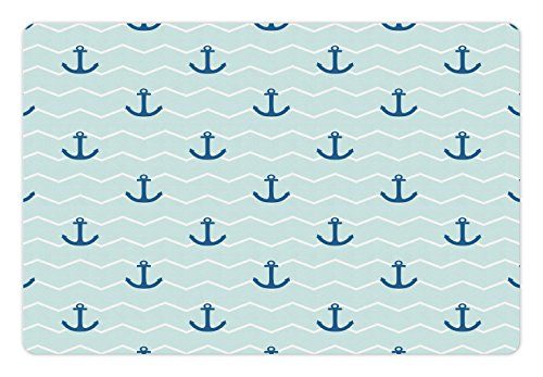 Price comparison product image Lunarable Anchor Pet Mat for Food and Water, Simple Pattern Anchor Stripe Horizontal Zig Zag Pattern Classic Old Art, Rectangle Non-Slip Rubber Mat for Dogs and Cats, Blue Pale Blue White