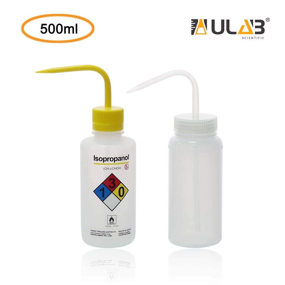 Include Each 1pc of Isopropanol wash Bottle and Wide Mouth wash Bottle,Vol.500ml ULAB Scientific Wash Bottle Set UWB1019