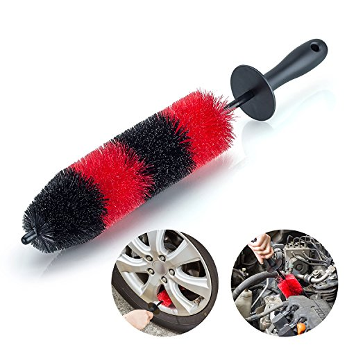 YIJINSHENG Premium Wheel/Rim Cleaning Brush Long Soft Bristle,Car Wheel Brush,Rim Tire Detail Brush,Multipurpose use For Cleaning Wheels,Rims,Exhaust Tips,Motorcycles,Bicycles, Grills,Engine