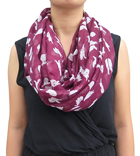 lina-lily-bunny-rabbit-print-womens-infinity-loop-scarf-maroon