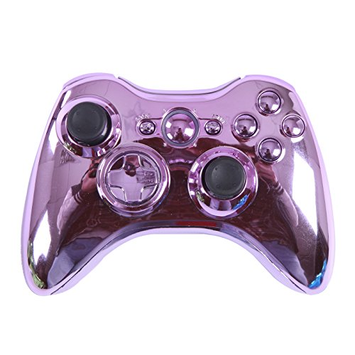(HDE Controller Shell for Xbox 360 Pink Chrome Shell Case Wireless Gaming Replacement Cover Kit)