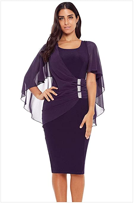 Amazon.com: MIJIN Women Chiffon Dress - Ladies Evening ...
