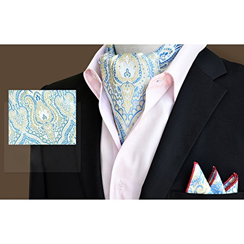 Wedding Men's Xlj 05 YCHENG Set Paisley Handkerchief Tie Silk Blue Floral Elegant Business Ascot PwYqwT0f