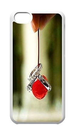 Plástico duro Carcasa Piel con anillos de boda, iPhone 5 C casos, diseño de