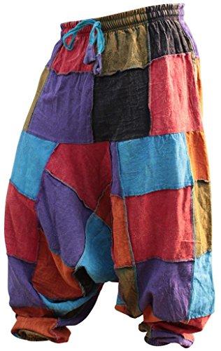 Shopoholic Fashion Unisex Hippy Patcwork Hippy Harem Trouser (XL,Patch) -