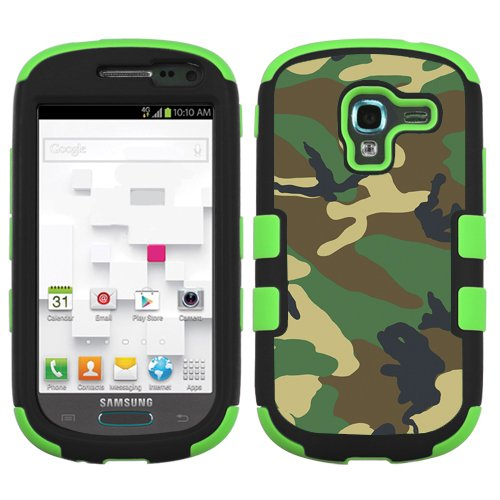 One Tough Shield ® 3-Layer Hybrid phone Case (Black/Green) for Samsung Galaxy Exhibit T599 - (Camo Green)