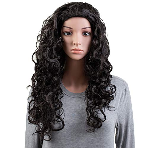 OneDor Long Hair Curly Wavy Full Head Halloween Wigs Cosplay Costume Party Hairpiece (2#-Darkest ()