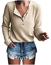 FNJJLU Womens Tops Knit Tunic Tops Loose Long Sleeve V Neck Button Up Shirts Comfy Casual Blouses Sweaters