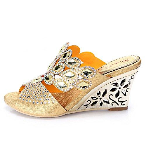 iPretty Sandalias Zapatillas para Mujer de Moda de Cuero Genuino de Cabra Elegante Atractiva Cómoda Sexy de Tacón Altos Talla 36 37 38 39 40 41 42 43