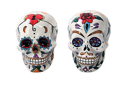 Pacific Giftware Day Of The Dead Skulls Salt Pepper Shakers Figurine Home Decor, multi-colored, 5 x 2