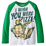 Teenage Mutant Ninja Turtles Big Boys' Long Sleeve T-Shirt Shirt, White/Kelly, X-Large/ 18