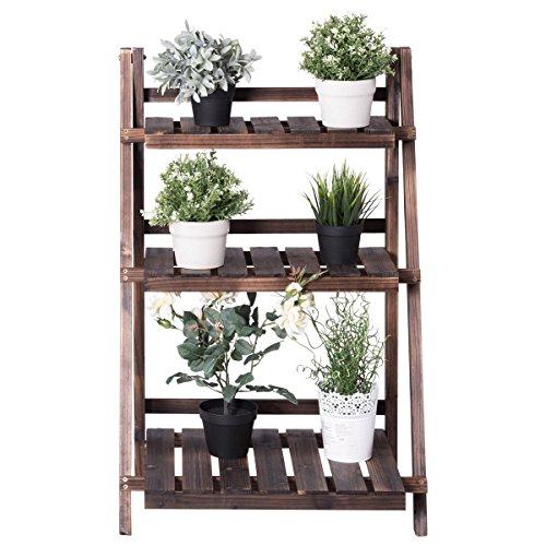 GJH One Standing Shelves Folding Rack Outdoor Wood Design Fl