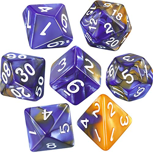 Polyhedral 7-Die Dice Set for Dungeons and Dragons with Black Pouch (Blue Gold)