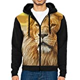 Men's Casual Garb Hoodies,Lions Africa Full Front Zipper Hooded Long Sleeve