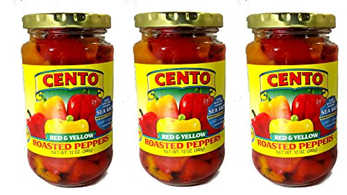 Cento Red and Yellow Fire Roasted Peppers - 3 Pack 12 Ounce