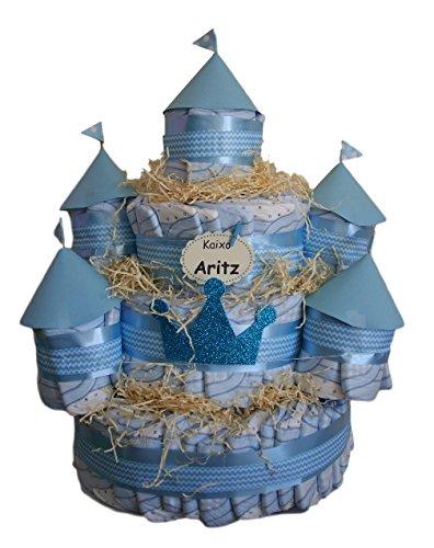 Castillo de pañales Azul, 120 pañales Dodot, tarta de pañales ideal ...
