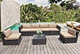 Cushion Ottoman Coffee Table PATIORAMA Outdoor Furniture, 7 Piece Patio Furniture Sectional Sofa Set, All-Weather Brown PE Wicker with Beige Cushions &Glass Coffee Table & Ottoman,Steel