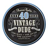 Creative Converting 24 Count Vintage Dude 40th Birthday Round Dessert Plates