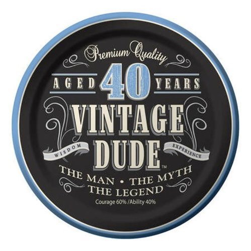 Creative Converting 24 Count Vintage Dude 40th Birthday Round Dessert Plates by Creative Converting
