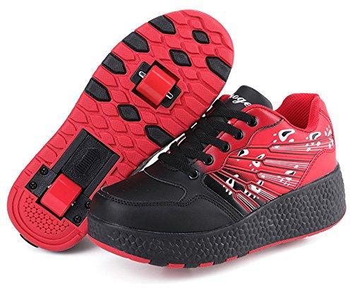 (Ausom Boys Girls Double Wheels Kids Skate Shoes Roller Sneakers )