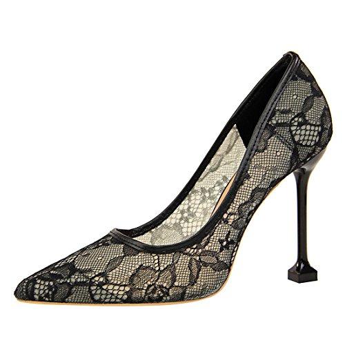 YE Damen Stiletto High Heels Spitze Pumps mit 10cm Absatz Elegant Party Schuhe Schwarz