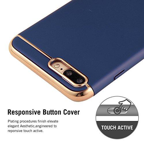 Funda IPhone 8,niceEshop(TM) Estructura de 3 Piezas Alta Calidad Ultra Delgada Material PC Protectora Caso de Duro Cover Case para IPhone 8,Plata iphone 8 Plus Azul zafiro