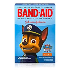 Band-Aid Brand Adhesive Bandages for kids and toddlers, featuring Nickelodeon Paw Patrol designs, cover and protect minor cuts and scrapes with fun Nickelodeon Paw Patrol graphics. These sterile bandages come in assorted sizes with designs th...