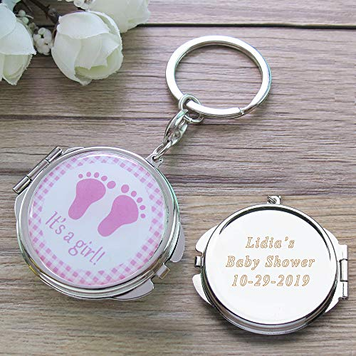 Personalized Baby Shower Pink Girl Mirror Keychain Favors with Baby Footprint Design Comes with Organza Gift Bags Custom Laser Engraving -