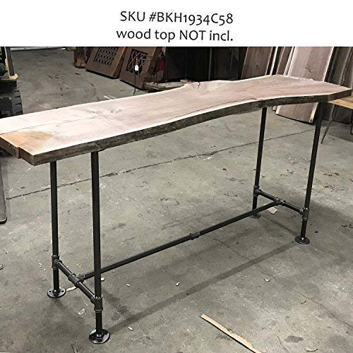 H34'', Rusty Design, BKH1934C50 Pipe Legs KIT with Cross Bar for Counter Height Table, H shape, L50'' x W19'' x H34'', Pack suitable for 1 Table