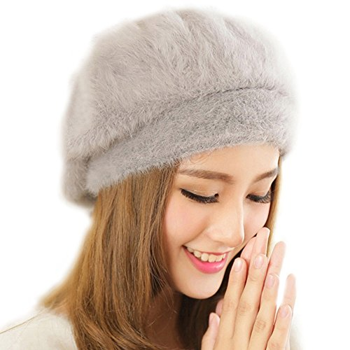 Queenshiny Women's Super Soft Angora Classic Pure Beanie Berets Cap Hat-Light Gray