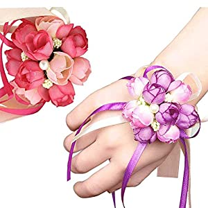 Wedding Wrist Corsage, 4PCS Girl Bridesmaid Party Prom Hand Flowers for Party Engagement Decor Birthday Party, Purple and Pink 104