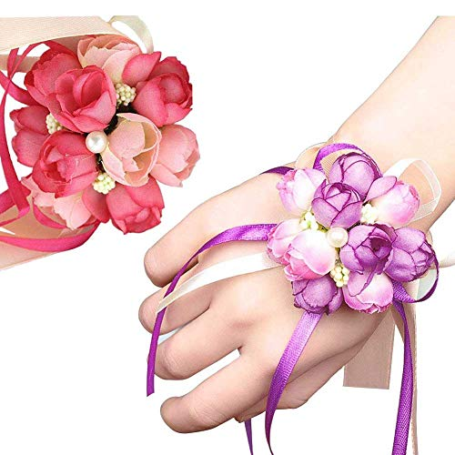 (Wedding Wrist Corsage, 4PCS Girl Bridesmaid Party Prom Hand Flowers for Party Engagement Decor Birthday Party, Purple and Pink)