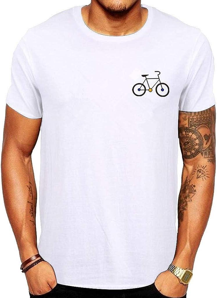 SANGQU Mens Summer Solid Short Sleeve T-Shirt Casual Bicycle Pattern Top Tees