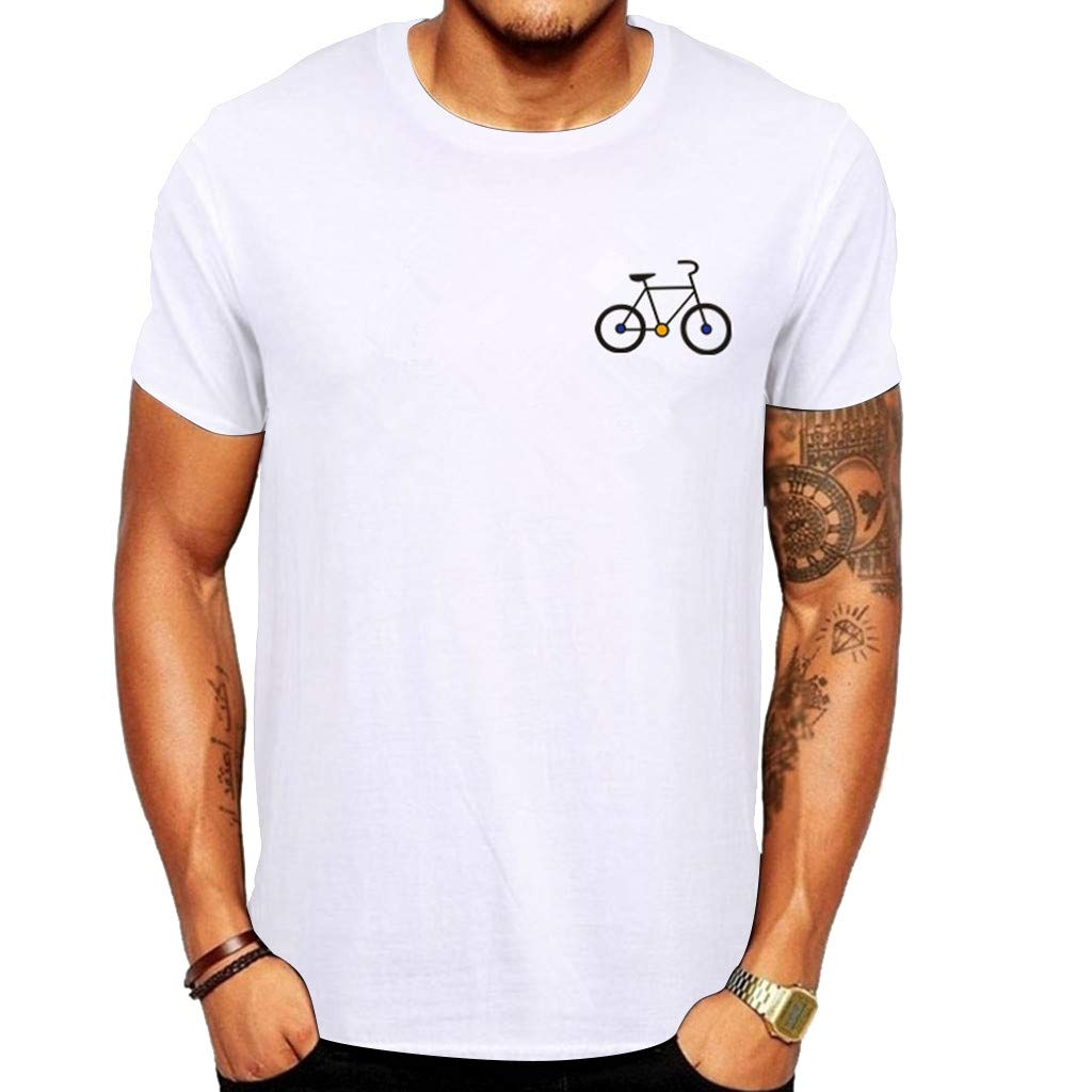 Round Neck T-Shirts,Men's New Summer Cartoon Bicycle Patterns Printed T-Shirt Top Blouse Top,White,M