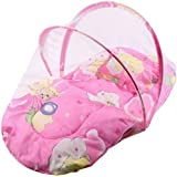 Classic Baby Bedding Set With Foldable Mattress, Mosquito Net And Pillow (Pink)