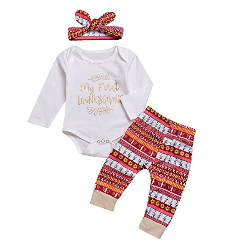 Newborn Baby Girls Boys Outfits Set My 1st Thanksgiving Clothes Infant Long Sleeve Bodysuit Tops+ Floral Pants+Headband -