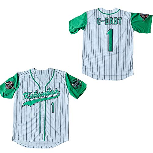 Supereasydeal Jarius G-Baby Evans 1 Kekambas Baseball Jersey Hardball (White, X-Large) Big Tall Baseball Jerseys