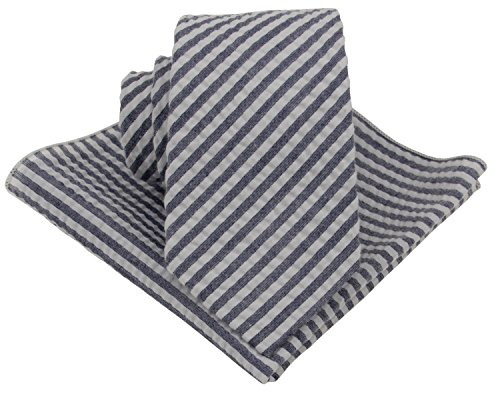 Mens Seersucker Tie Set : Necktie with Matching Pocket Square -3 Inch Width (Navy Blue)