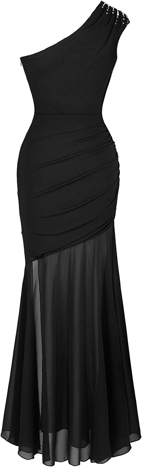 Angel-fashions Womens One Shoulder Beading Ruched Transparent Cocktail Dress
