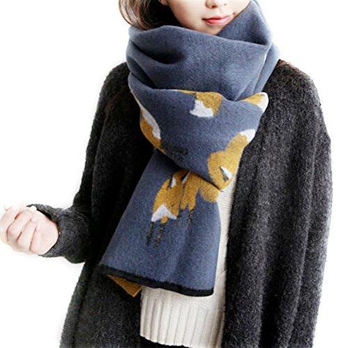 Cashmere Fox - IMLECK Winter Fashion Stylish Fringe Cartoon Small Fox Cashmere Feel Long Pashmina Scarf