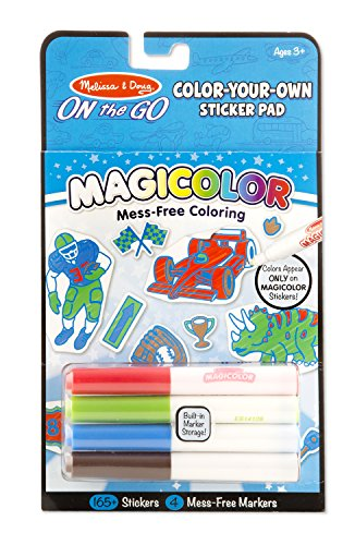 Melissa & Doug On the Go Magicolor Color-Your-Own Sticker Pad - Vehicles, Sports, and (Make Your Own Dinosaur)