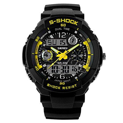 Multi-function Unisex Rubber Dual Time Led Light Waterproof Analog Digital S-Shock Alarm Sports Wrist Watch (Yellow) ()