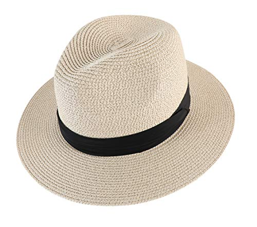 Lanzom Men Wide Brim Straw Foldable Roll up Hat Fedora Summer Beach Sun Hat UPF50+ (Style B-Beige, Large Size:Fit for 23