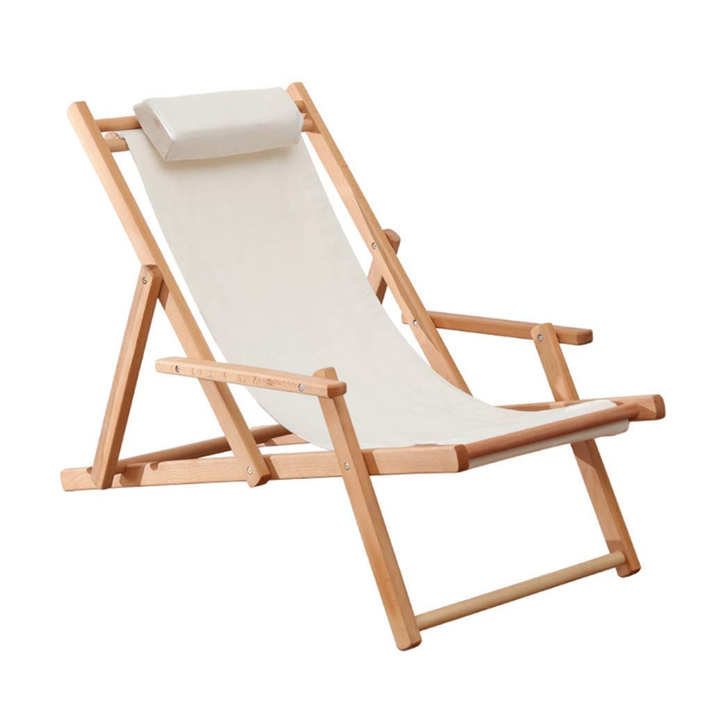 HZC Deck Chairs with Armrests Hardwood Frame | Sun Lounger Recliners | Folding Reclining Garden Chair for Patio Porch Garden Lawn Camping (Color : A) by HZC