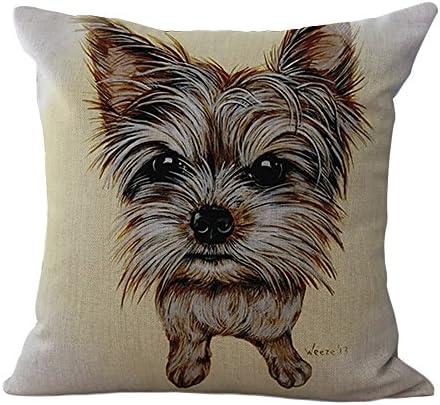 ChezMax Cotton Linen Cushion Cute Dog Pattern Square Decor Pillow Decorative Throw Pillow 18 X 18