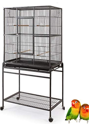 "Mcage Large Wrought Iron Flight Canary Parakeet Cockatiel Lovebird Finch Cage with Removable Stand (32"" L x 18"" W x 64"" H, Black Vein)"