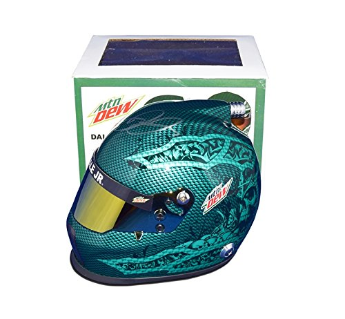 AUTOGRAPHED 2017 Dale Earnhardt Jr. #88 Mountain Dew Racing RETIREMENT FINAL SEASON (Green Skull Design) Signed Lionel NASCAR Replica Mini Helmet with COA