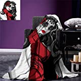 smallbeefly Skull Warm Microfiber All Season Blanket Sexy Sugar Skull Lady with Mexican Style Floral Mask Evil Gothic Dead Art Print Artwork Image,Multicolor, Grey White Black Red