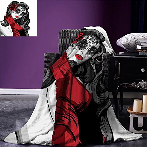 smallbeefly Skull Warm Microfiber All Season Blanket Sexy Sugar Skull Lady with Mexican Style Floral Mask Evil Gothic Dead Art Print Artwork Image,Multicolor, Grey White Black Red by smallbeefly