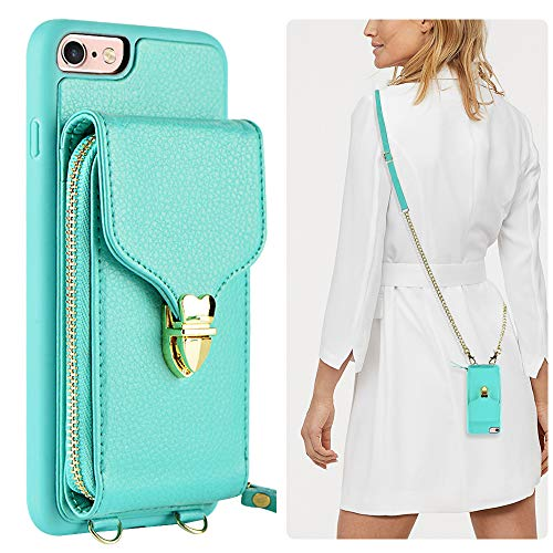 - iPhone 6 Plus Wallet Case, JLFCH iPhone 6S Plus Crossbody Leather Zipper Case with Card Slot Holder Lanyard Buckle Closure Detachable Wrist Strap Chain for Apple iPhone 6/6S Plus 5.5 inch - Mint Blue